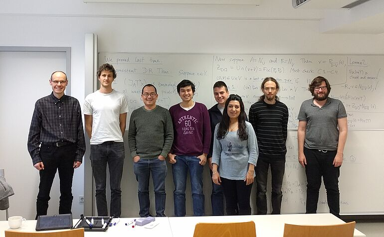 Grouppicture of the Guestprofessor Bauschke with PHD Students